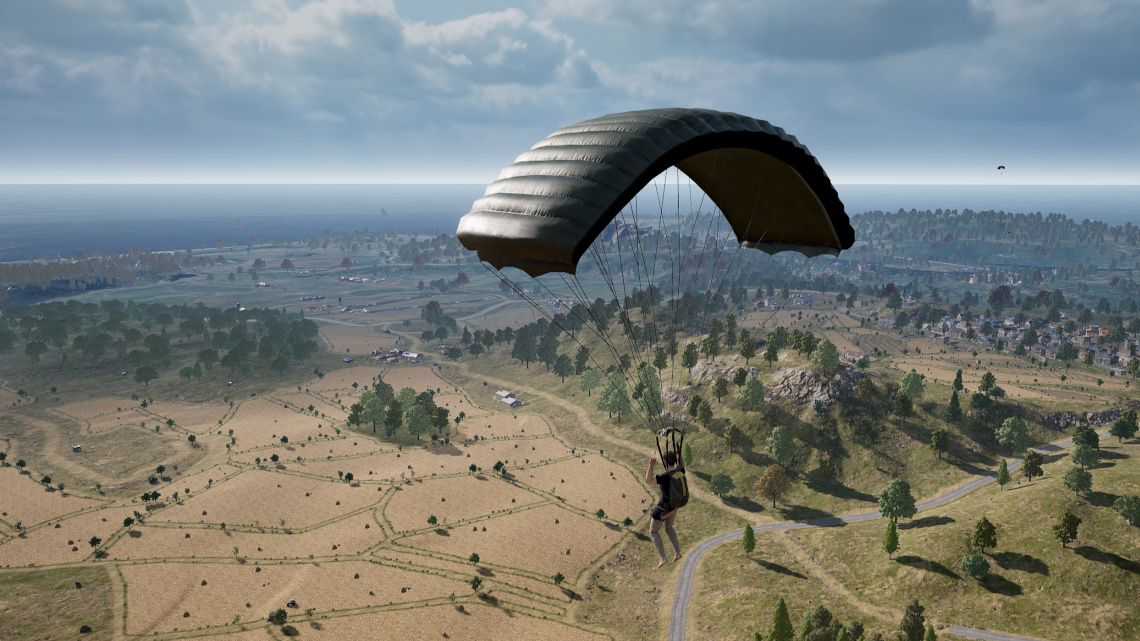 Parachuting over Erangel